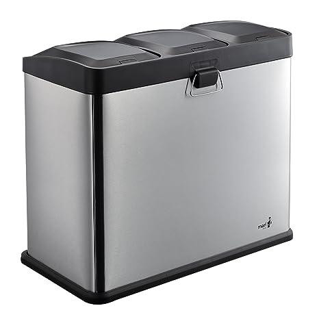 MARI HOME Cubo Basura Grande   Basurero Triple En Acero Inoxidable 54L Con 3 Compartimentos (18L X 3)   Para La Cocina, Oficina Y Hogar   Basura A ...