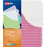 Avery Big Tab Insertable Plastic Dividers with Pockets, 8 Tabs, 1 Set, Assorted Fashion Designs (07709)