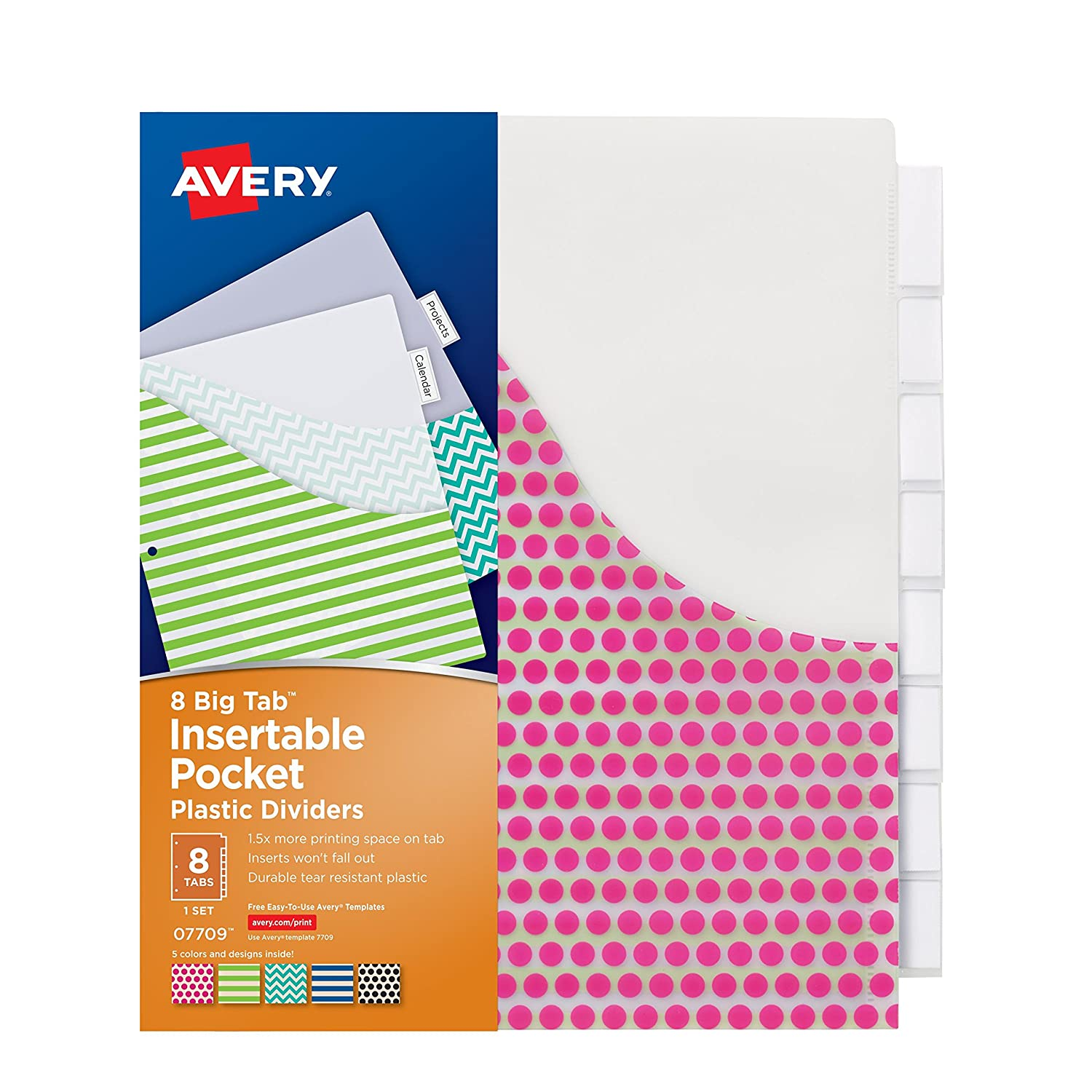 amazon com avery big tab insertable plastic dividers with pockets