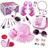 Kids Pretend Dress Up Makeup Set, Princess Role Play Kit Fake Makeup Jewelry Toys Accessories Sunglass Shoes Fashion Cosmetic