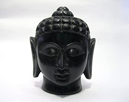 Amazon Com 6 Height Black Marble Buddha Head Cum Face By Indian