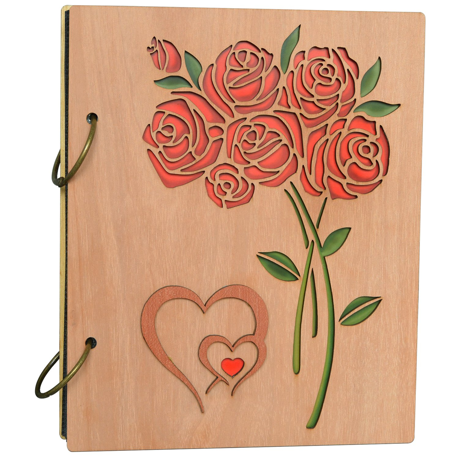Cossyhome Double Heart Roses Photo Album 4x6 Photo Book Albums Hold 120 Pictures 4 by 6 inch