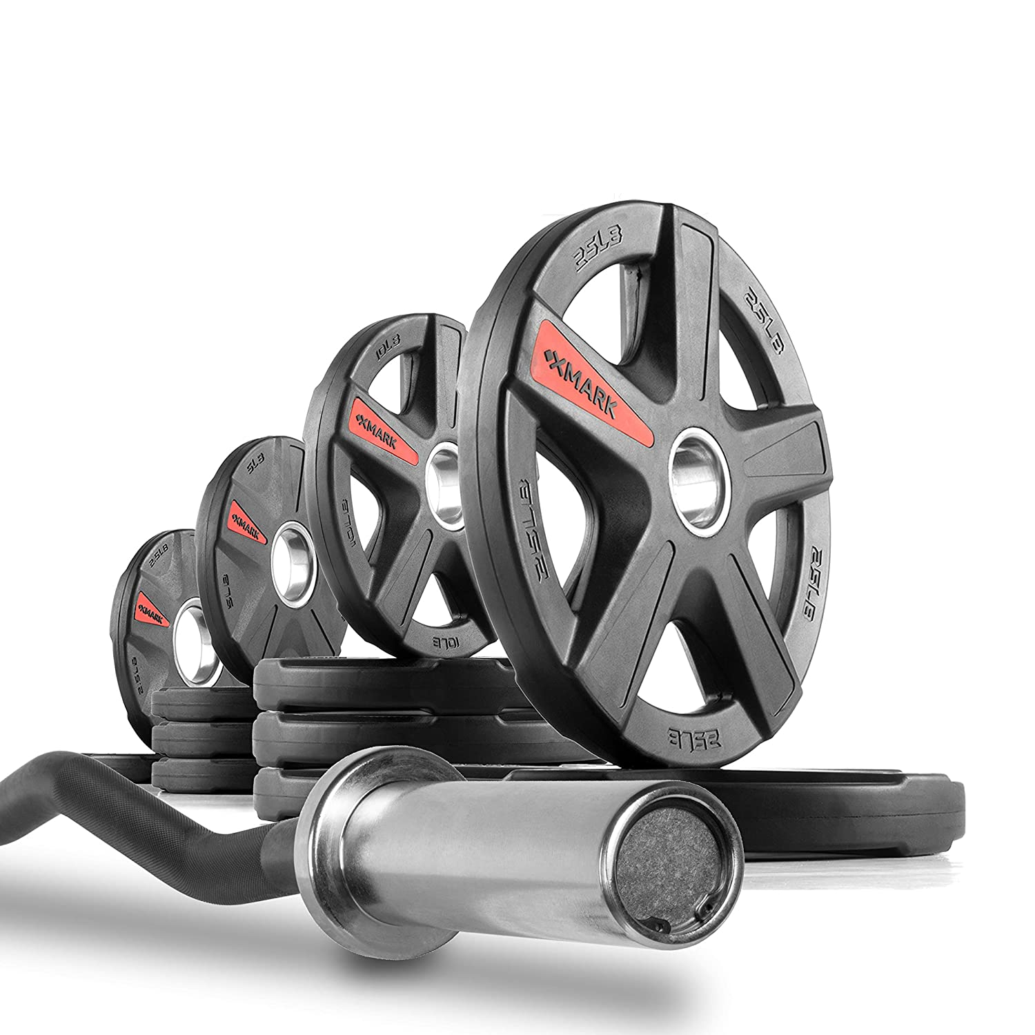 XMark Olympic EZ Curl Bar Brass Bushings With Optional TEXAS STAR, SIGNATURE or TRI-GRIP Olympic Plate Weight Sets, Use with Preacher Curl Bench, Utility Benches, Bicep Curl and Triceps Extension