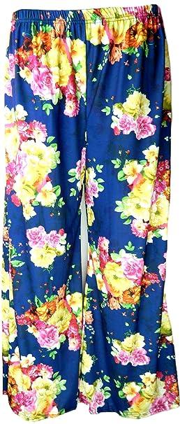 321e8096d27e0 Fashion Oasis Women's Standard & Plus Plain & Floral Print Palazzo Trousers  12-14 Yellow