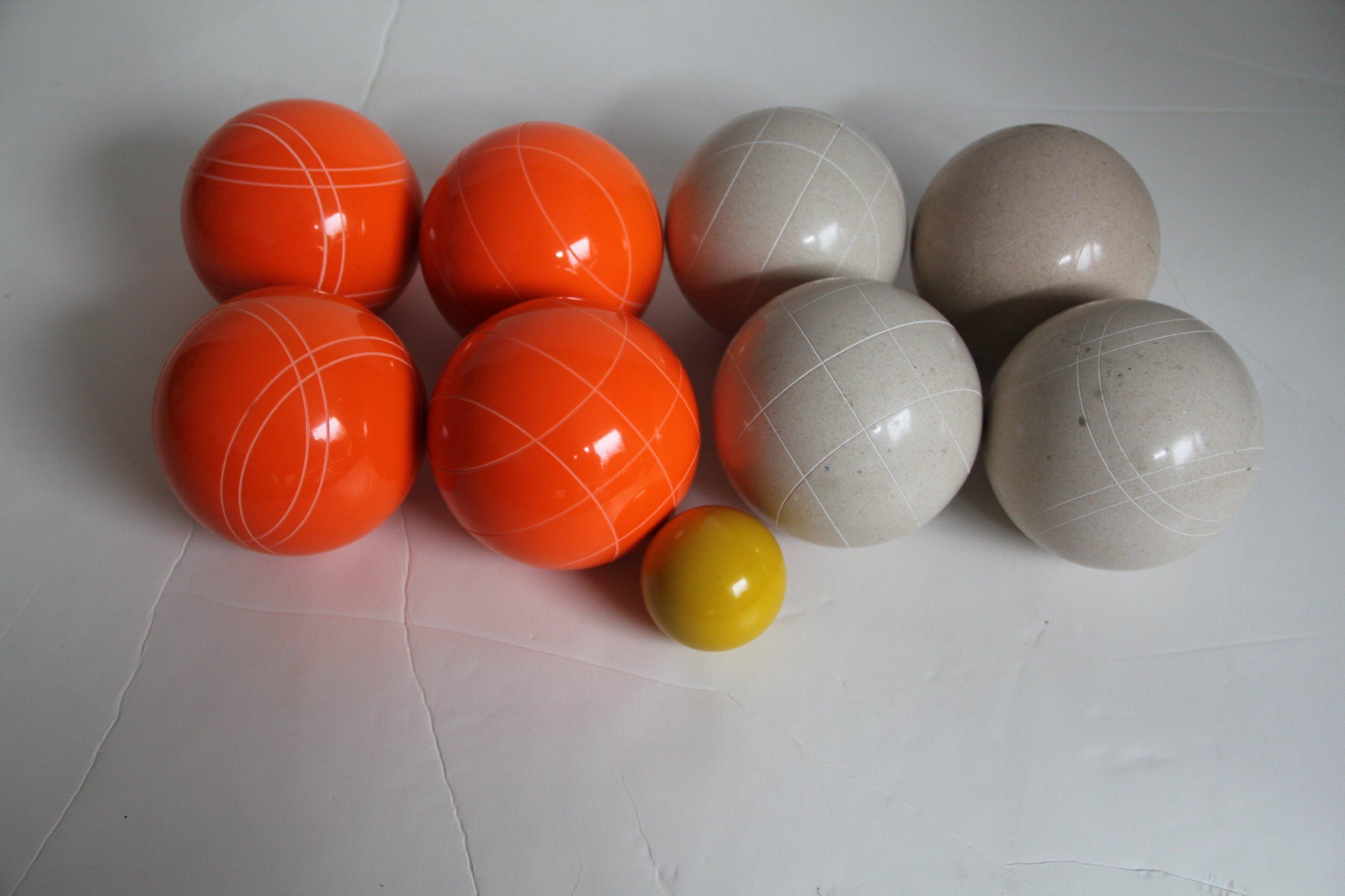 Premium Quality EPCO Tournament Set - 110mm White and Orange Bocce Balls - NO BAG OPTION [Toy]
