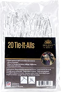 Sorillo Brands 20 Clear Tie-It-All Decoration Hangers - Secures Garlands, Lights, Decorations on Railings, Fences, Lamp Posts