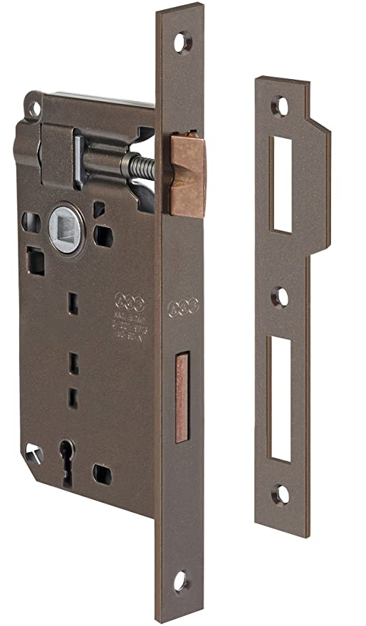 AGB Cerradura Patent Bronce Placa Contraplaca RETT. 8/70 mm. 45