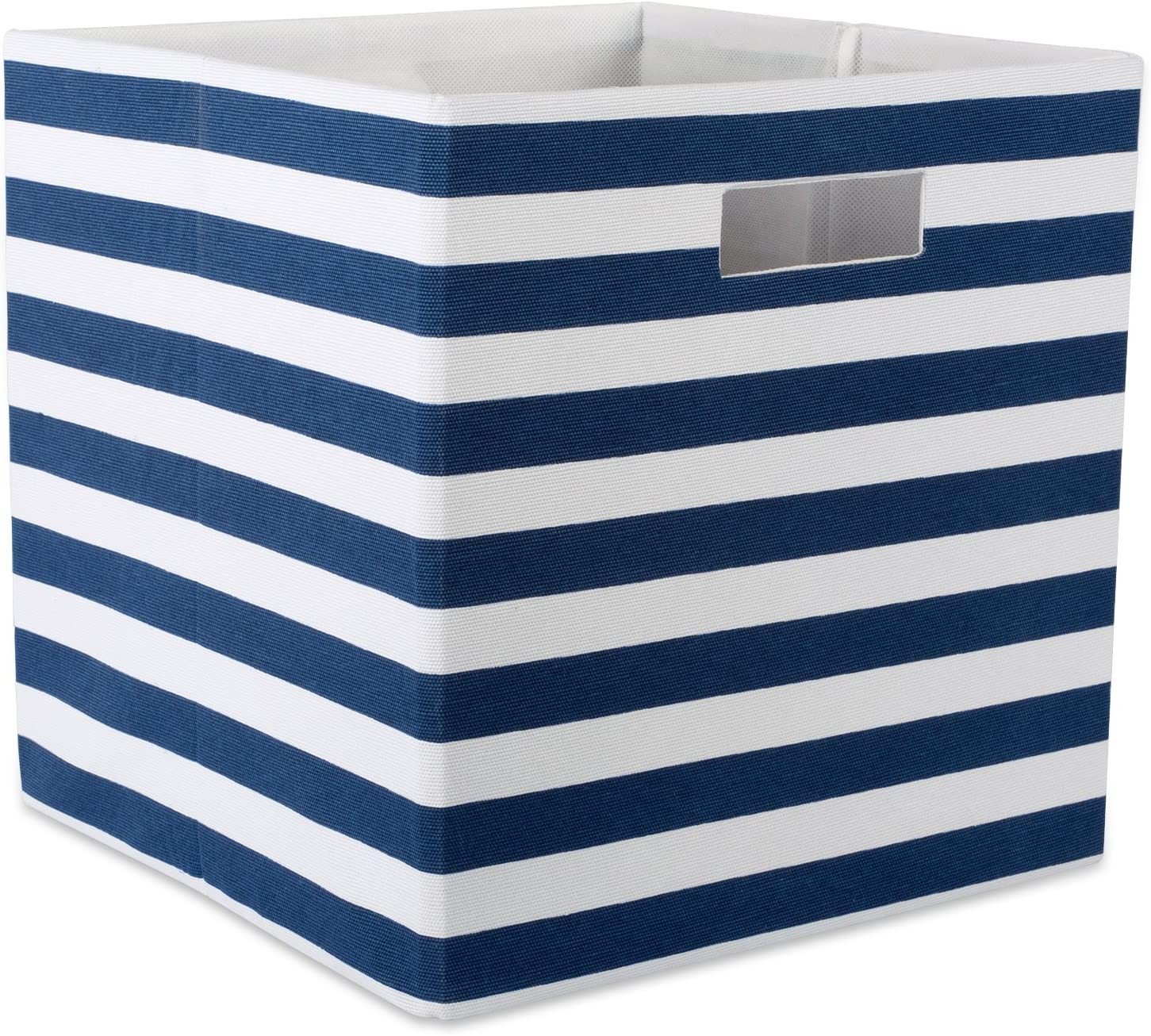 DII Foldable Fabric Storage Container 13 x 13 x 13, Stripe Nautical Blue, Large