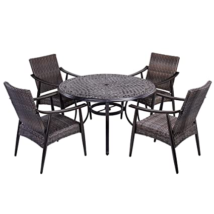 Cool Amazon Com Dali Outdoor 5 Piece Wicker Dining Set Patio Dailytribune Chair Design For Home Dailytribuneorg