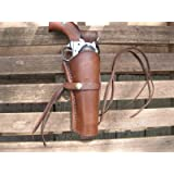 """Western Gun Holster - Brown - Right Handed - for .38 Caliber single action revolver - Size 6"""" - Smooth Leather"""