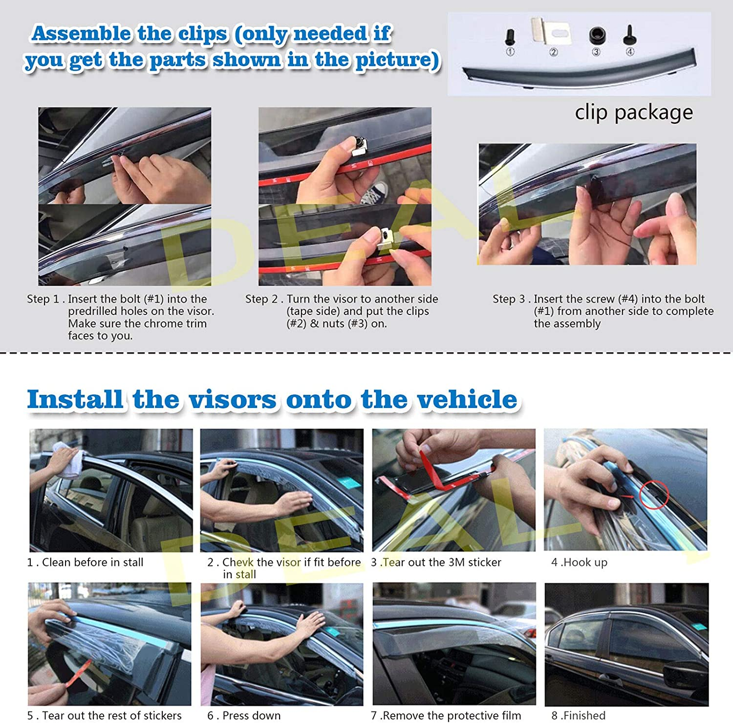 DEAL 4-Piece Set Outside Mount Tape On//Clip On Type Smoke Tinted Sun//Rain Guard Vent Window Visors With Chrome Trim For 2013-2018 Ford Fusion All Models