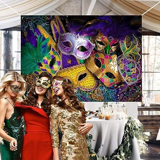 Fondo de fotografía de fiesta de disfraces de cuentas de oro verde ...