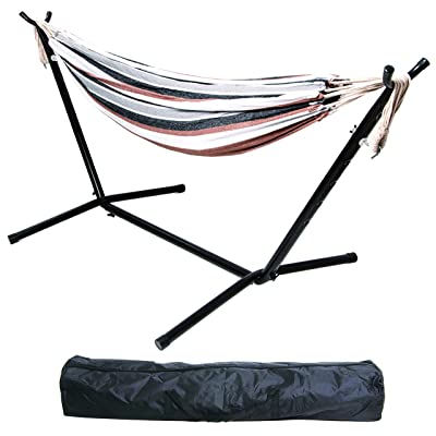 BalanceFrom Double Hammock with Space Saving Steel Stand and Portable Carrying Case, 450-Pound Capacity (Color #5), Hammock with Stand: Sports & Outdoors