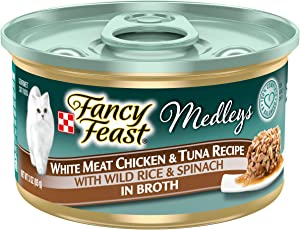 Purina Fancy Feast Wet Cat Food, Medleys White Meat Chicken & Tuna Recipe With Wild Rice & Spinach - (24) 3 oz. Cans