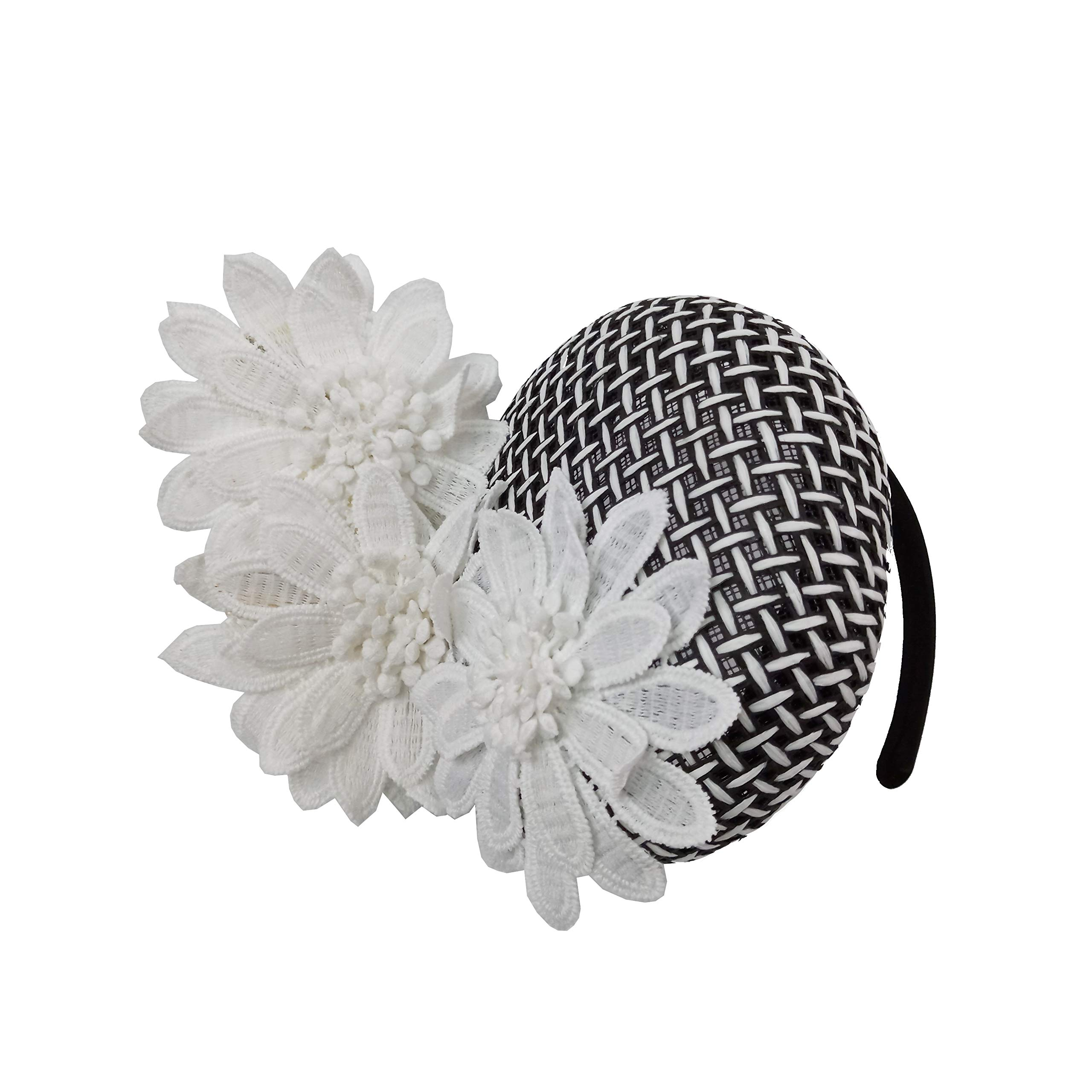 White/Multi Daisy Lace Grid Paper Straw Fascinator Headband Hats Tea Party Hats