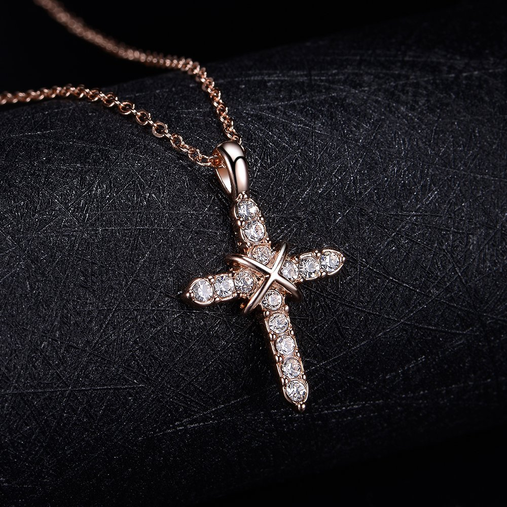 dnswez 14k Rose Gold Plated Crystal Cross Pendant Necklace 18\