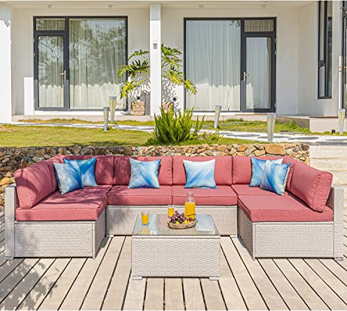 COSIEST 7-Piece Outdoor Furniture Set Warm Gray Wicker Sectional Sofa w Thick Cushions
