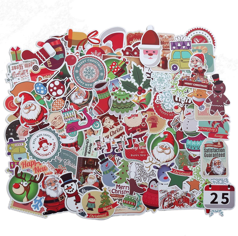ChristmasDecorations100PcsChristmasStickersSantaSnowflakeStickersforKids,MerryChristmasDecorationsStickersforEnvelopesGiftsTagsCraftsWindowsSnowboard