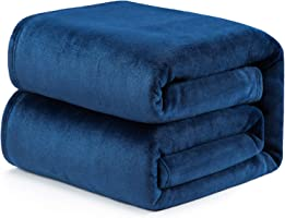 Bedsure Cozy Plush Flannel Blanket Microfiber Solid 5 Colors 4 Sizes