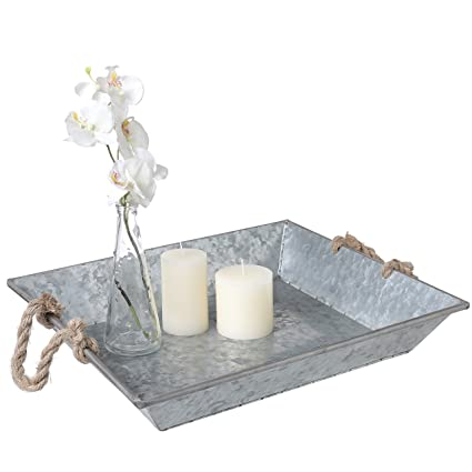 18 Inch Farm Rustic Style Galvanized Zinc Metal Decorative Tray with Knot Rope Handles