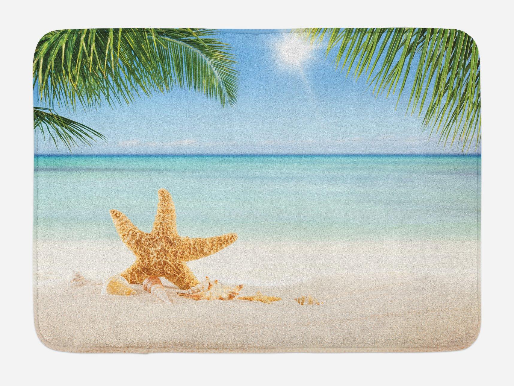 Lunarable Ocean Bath Mat, Graphic of Summer Sandy Beach with Majestic Starfish on Tropical Hawaiian Beach, Plush Bathroom Decor Mat with Non Slip Backing, 29.5 W X 17.5 W Inches, Cream Blue Green