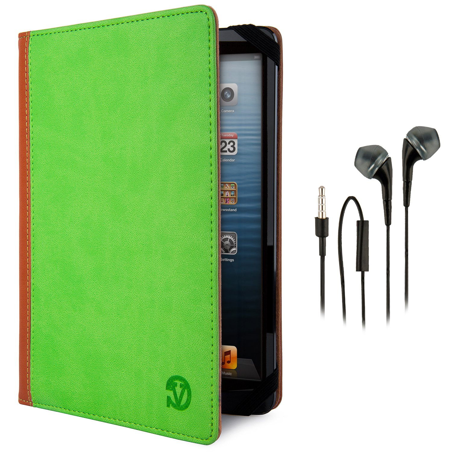 VanGoddy Mary Portfolio – Slim Flip Book Style Cover w/ Integrated Self Stand (LIME GREEN & TAN) fits Dell Venue 7 Smart Android Touch Tablet + Black Hands-free Earphones (Headphones with Microphone)