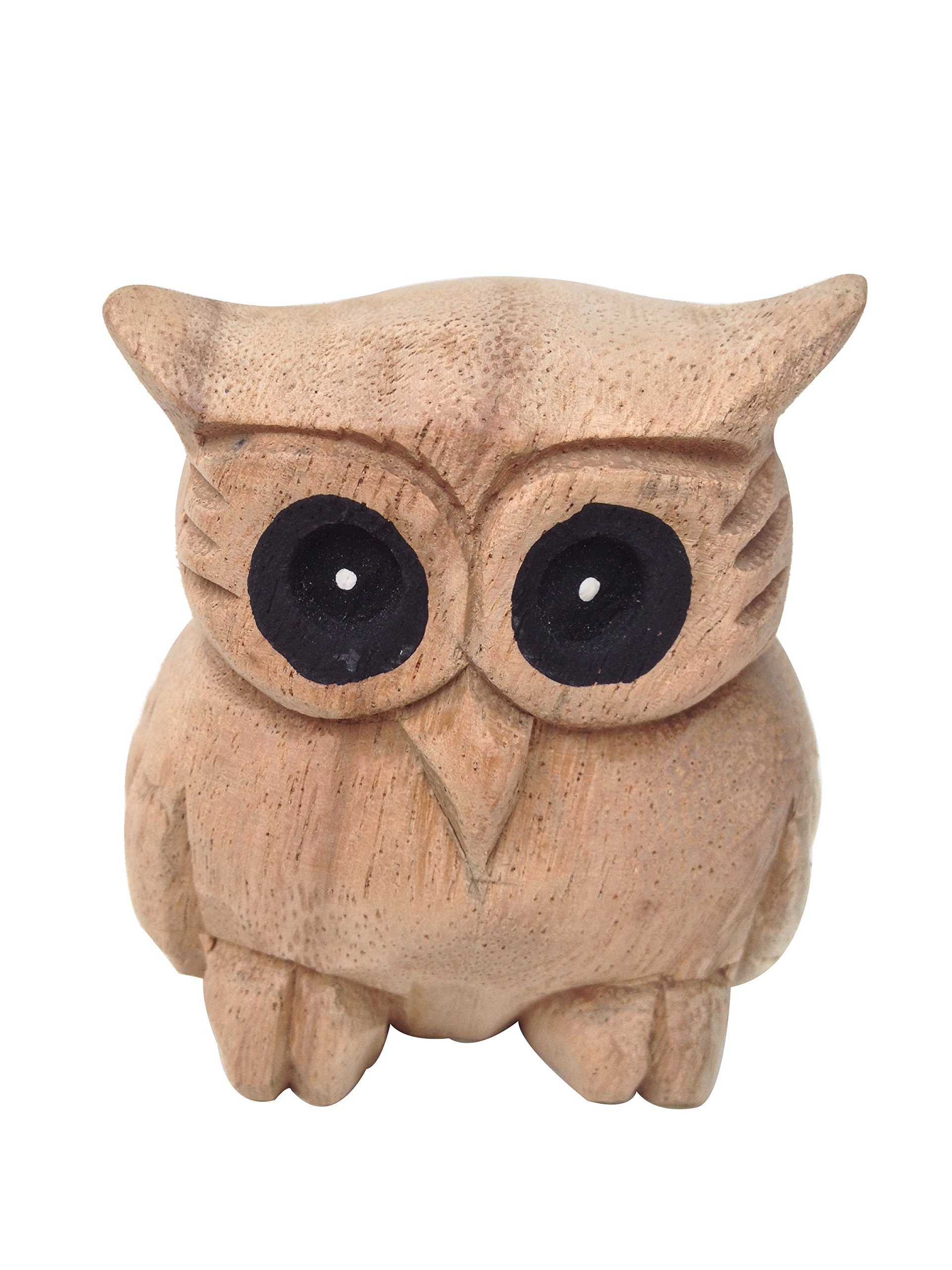 Wood For Décor Wooden Animal Carving Owl Décor Mimosa Wood in Modern Style