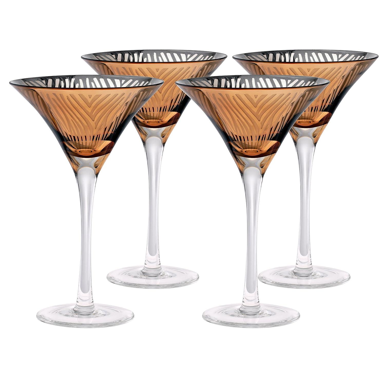 Finish: Gold Martini Glass Zebra 8 Oz Set of 4