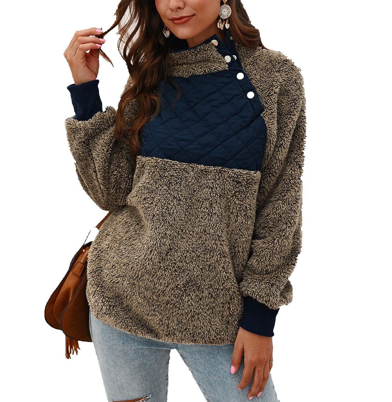 Women's Warm Sherpa Pullover Sweatshirt,Long Sleeve Oblique Button Neck Fleece Casual Geometric Pattern Patchwork Outwear Green by KINGLEN Womens Sweatshirt