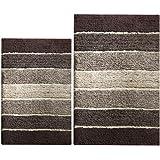 Chardin Home - 100% Pure Cotton - 2 Piece Cordural Stripe Bath Rug Set, (24''x40'' & 21''x34'') Brown-Beige with Latex spray non-skid backing