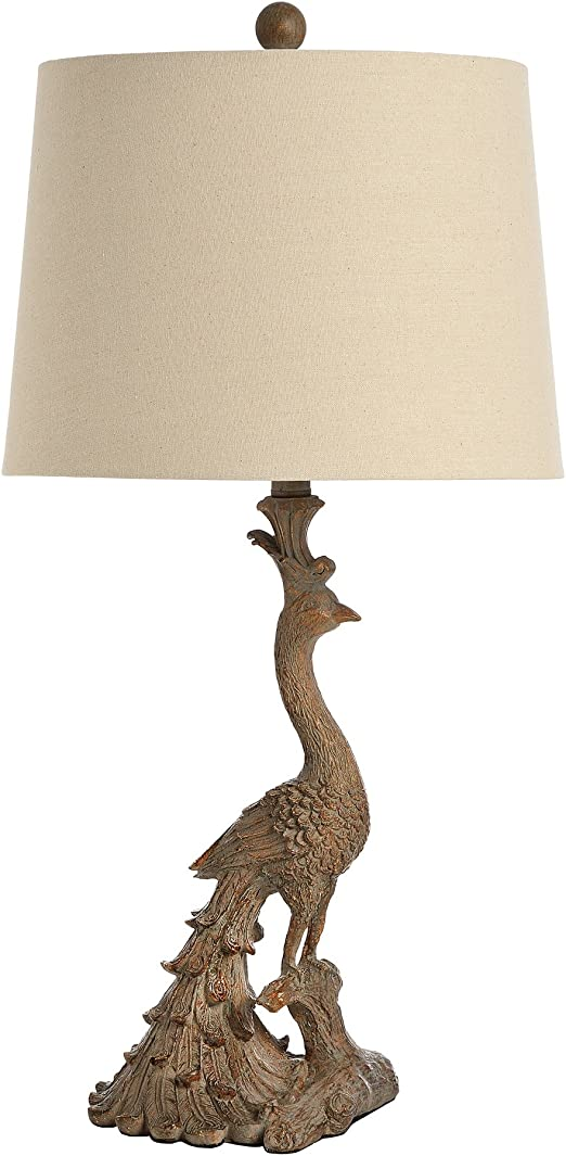 Large Gold Peacock Table Lamp