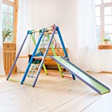 EZPlay Indoor Jungle Gym – Sturdy Toddler Playset, Foldable Kids Play Area with Monkey Bars, Climbing Ladder, Toddler Slide,