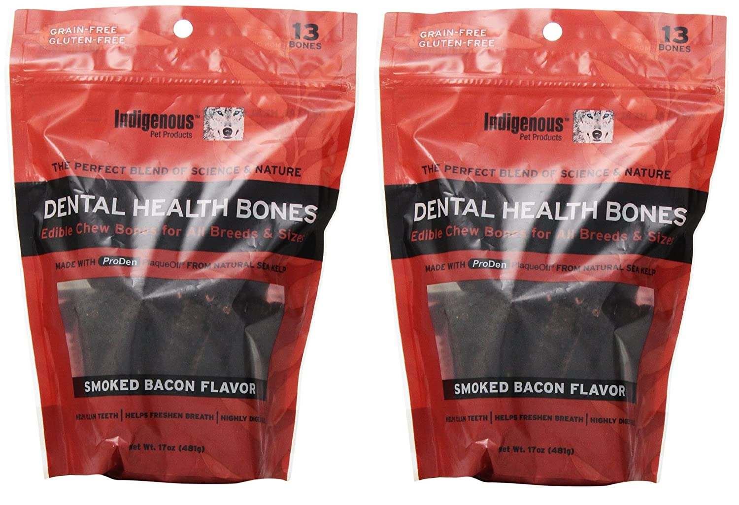 Indigenous Dental Health Bones Smoked Bacon Flavor 17oz 2 Pack
