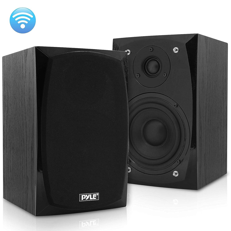 HiFi Desktop Bookshelf Speakers Pair – 300 Watt Powered Bluetooth Compatible Active Passive Book Shelf Speakers – Studio Monitor Computer Desk home Stereo Speaker System w AUX RCA USB – Pyle PBKSP22
