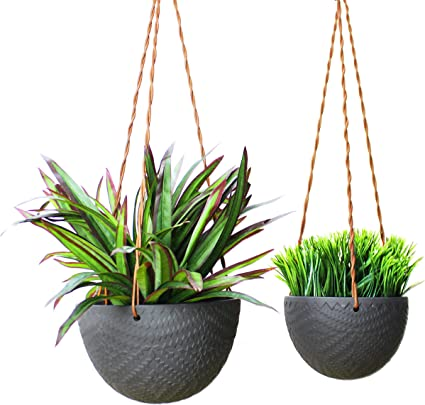 Black Small Plant Not Included Holder//Pot for Plants Succulents Slice of Goodness Hanging Planter Flowers Ceramic Modern Design for Indoor Decor and Outdoor Garden Patio