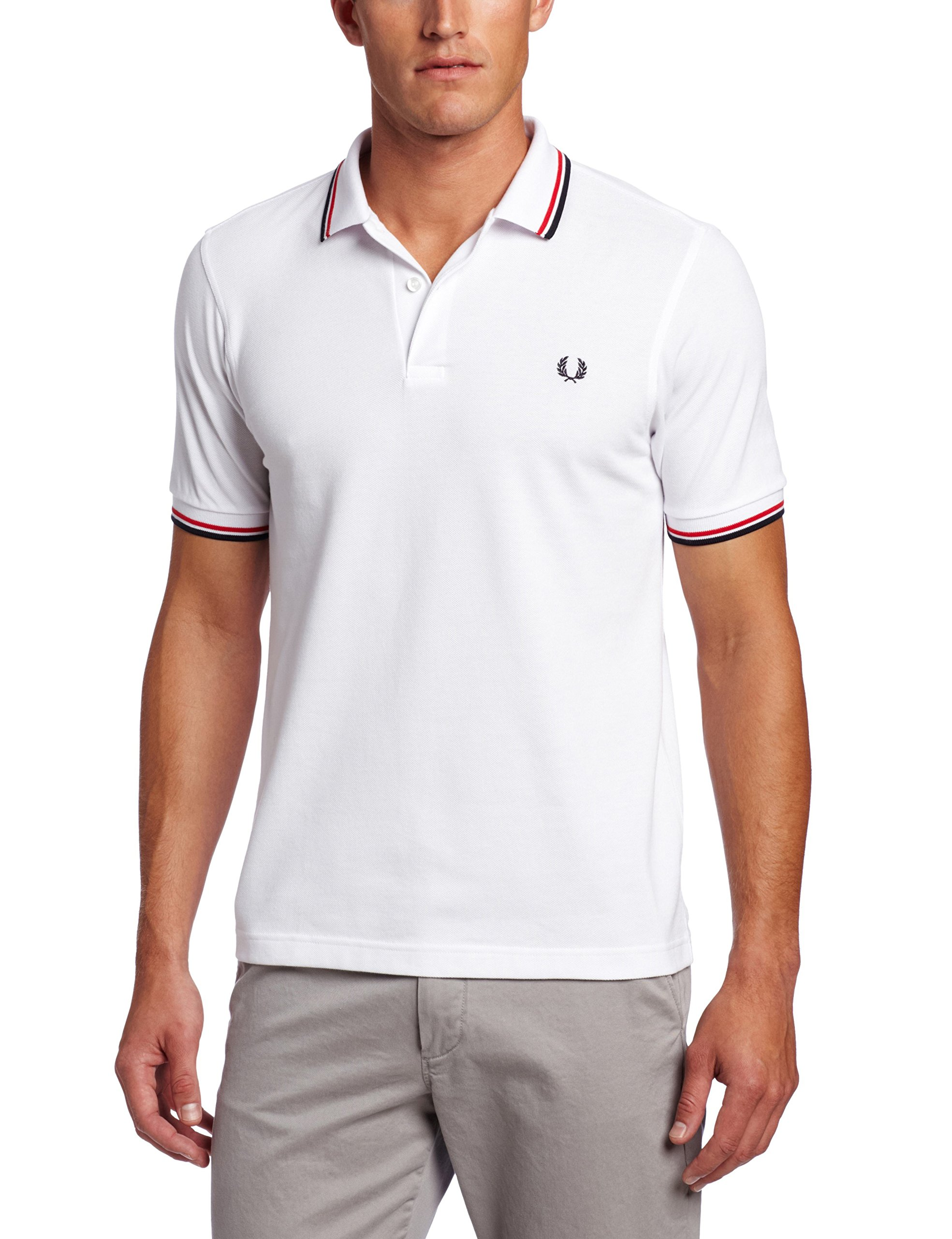 Fred Perry Men's Twin Tipped Polo Shirt-M3600, White/BrightRed/Navy, Medium