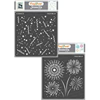 CrafTreat Stencil - Confetti & Fire Works (2 pcs)   Reusable Painting Template for Journal, Home Decor, Crafting, DIY…