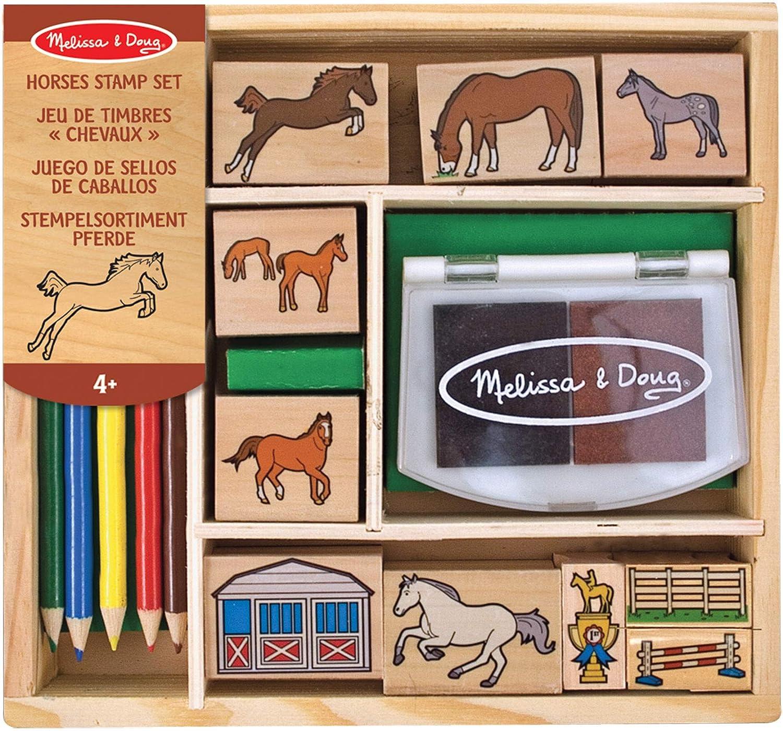 Melissa & Doug- Horses Sellos de Madera con Diseños de Caballos, Multicolor (12410)