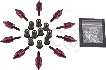 10x Windscreen Spike Bolt Kit RedCBR GSXR Stud M8 x 1.25p Wellnut Fairing