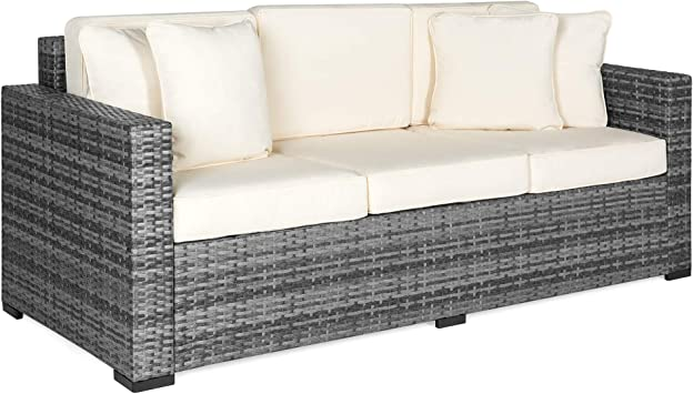 Best Choice Products Outdoor Wicker Sofa, All-Weather Patio Couch with  Beige Cushions, Seats 3 - Gray