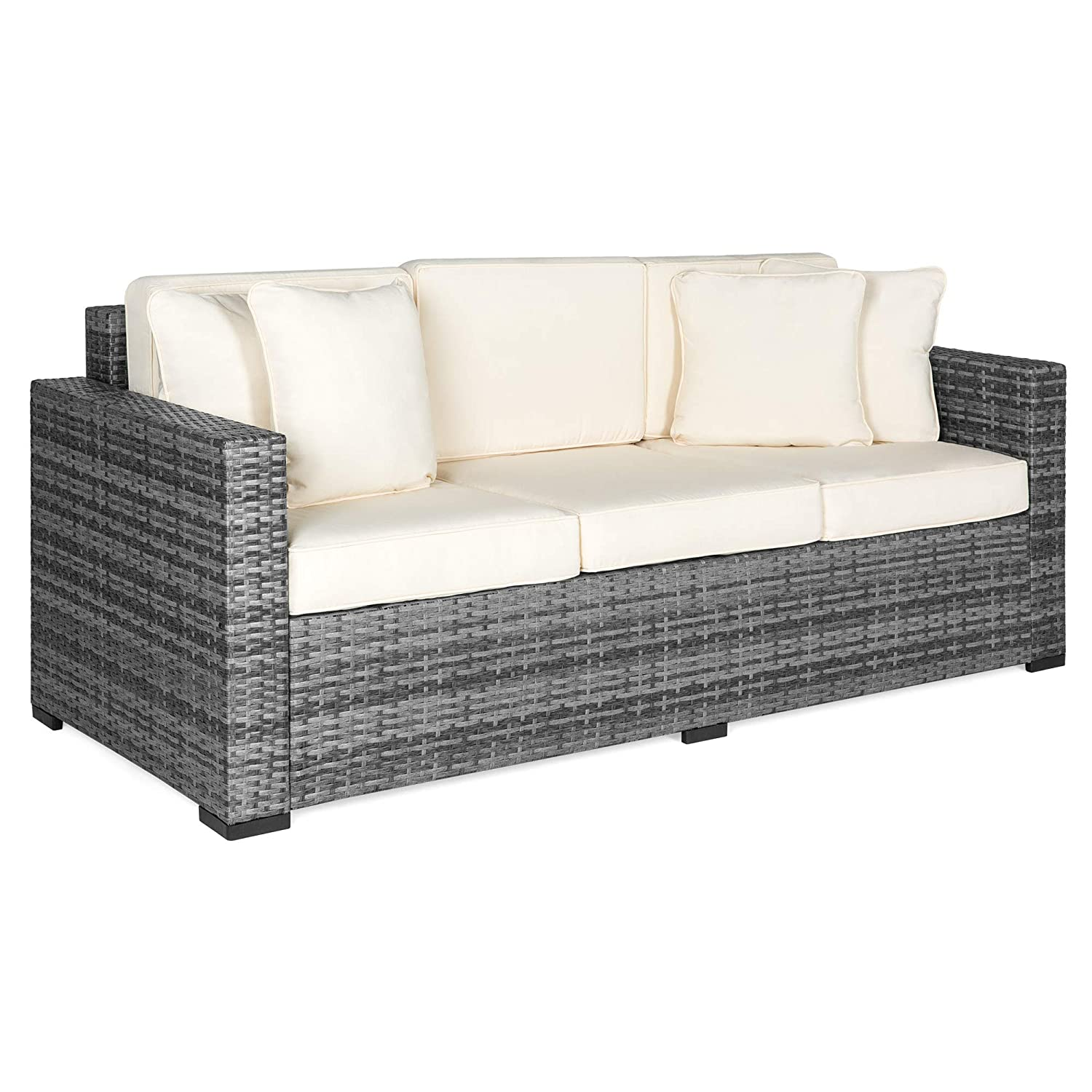 Best Choice Products 3-Seat Outdoor Wicker Sofa Couch Patio Furniture w/  Steel Frame, Removable Cushions - Gray