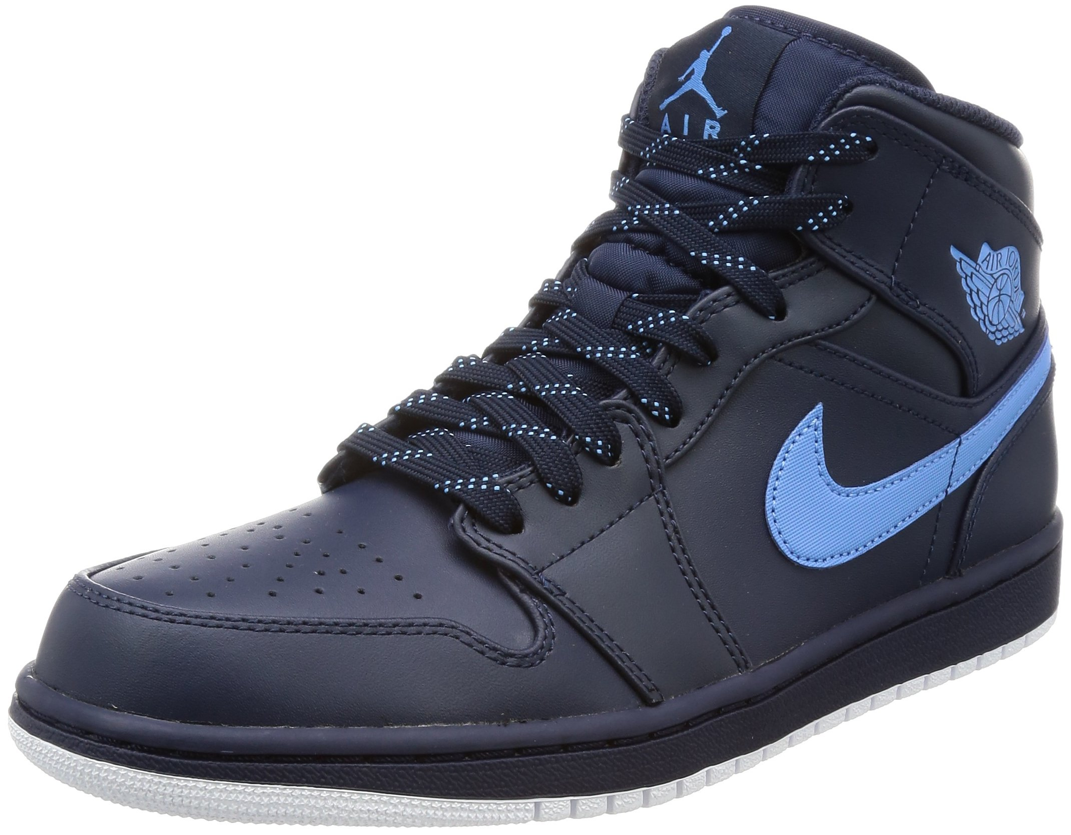 JORDAN MENS AIR JORDAN 1 MID OBSIDIAN UNIVERSITY BLUE WHITE SIZE 8 by Jordan