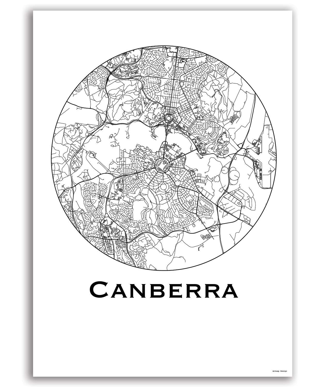 Canberra Australia Map.Poster Canberra Australia City Map Street Map Wall Decor Decorative