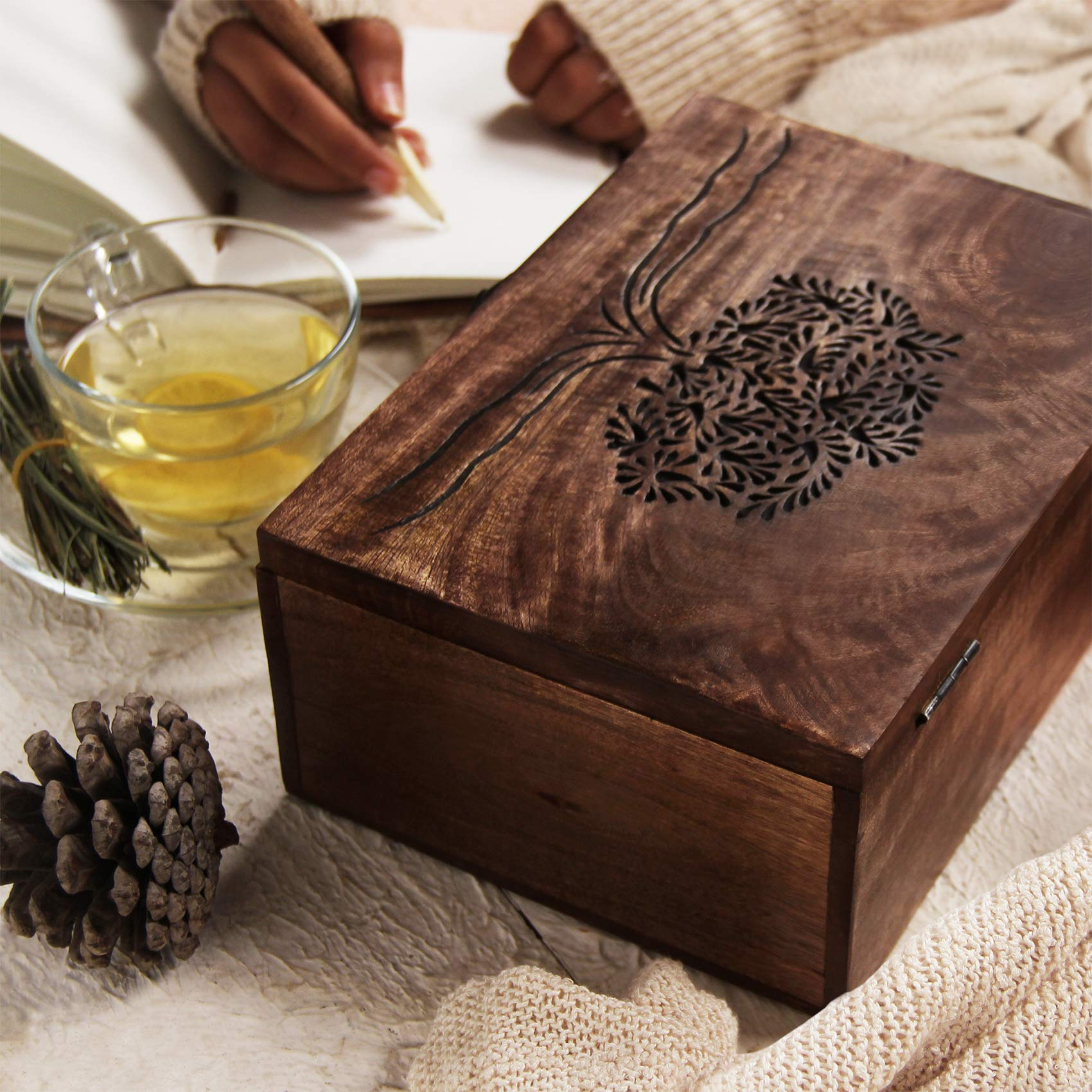 storeindya Thanksgiving Gifts Wooden tea box Caddy with Tree Of Life Motif and 6 compartments Perfect gifting Idea for Christmas and Housewarming