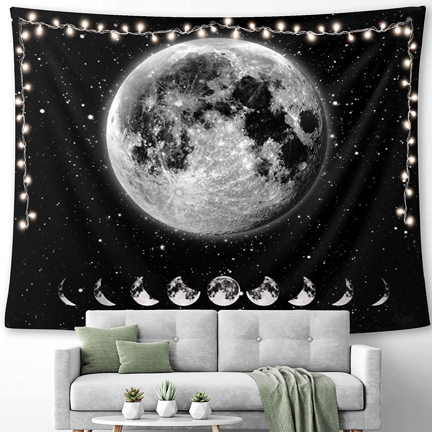 HUEMANKIND Full Moon Tapestry Wall Hanging   Wall Tapestry For Bedroom Living Room, Home Decor   Hippie Decor Wall Art Trippy Tapestry   Black And White Moon Tapestry Design   Size (50