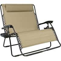 Best Choice Products 2-Person Double Wide Adjustable Folding Steel Mesh Zero Gravity Lounge Recliner Chair for Patio, Lawn, Balcony, Backyard, Beach, Outdoor Sports w/Cup Holders - Beige