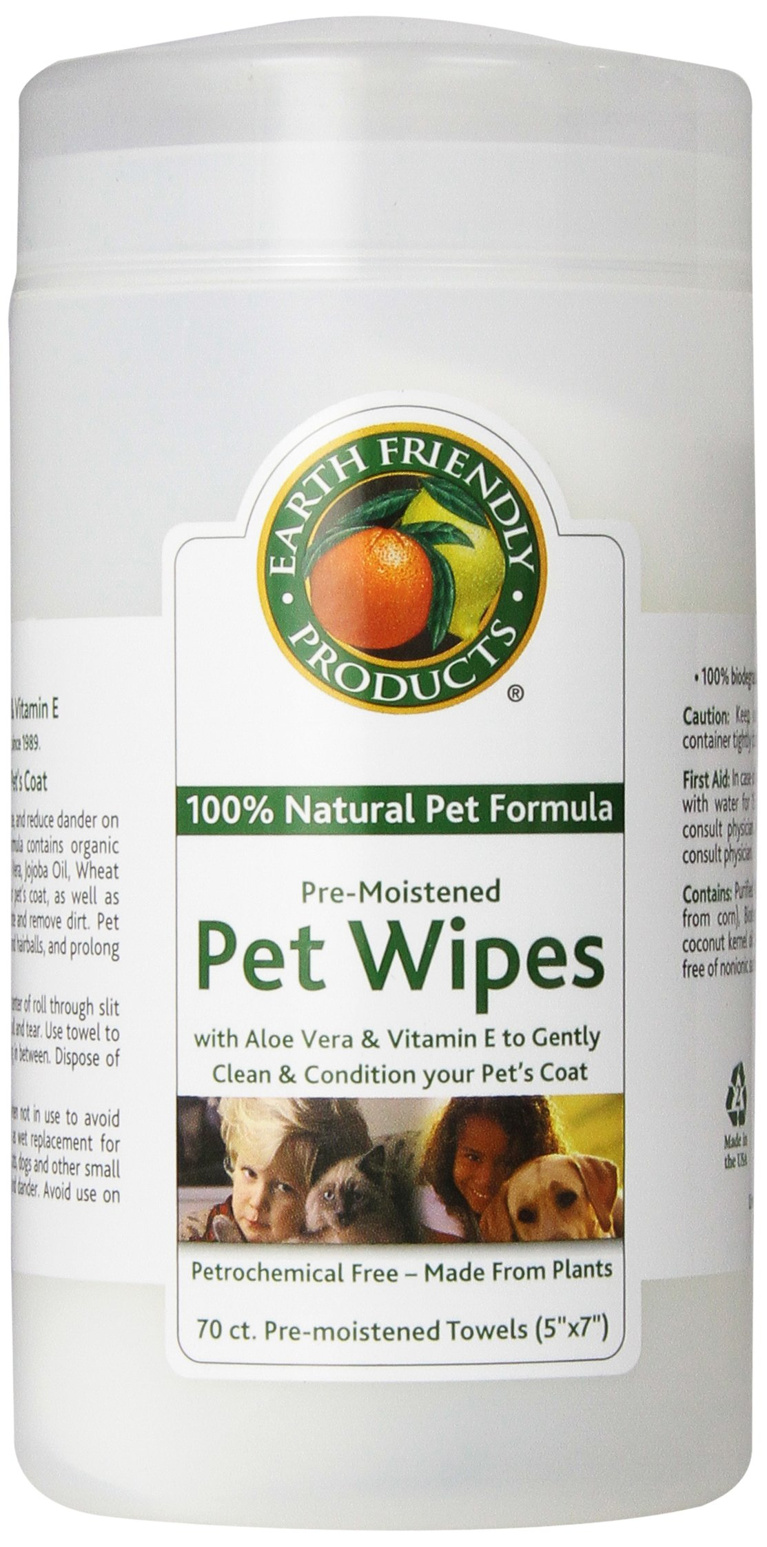Natural Pet Pre-moistened Pet Wipes, 70-Count Containers (Pack of 6) by Natural Pet