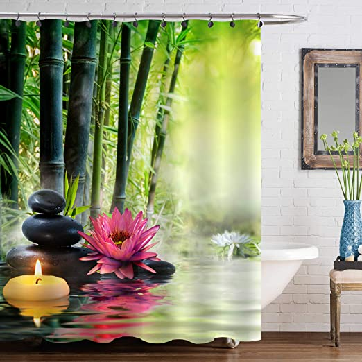 Bamboo stone flowing water series Hall Shower Curtain Polyester Fabric Multi-Siz