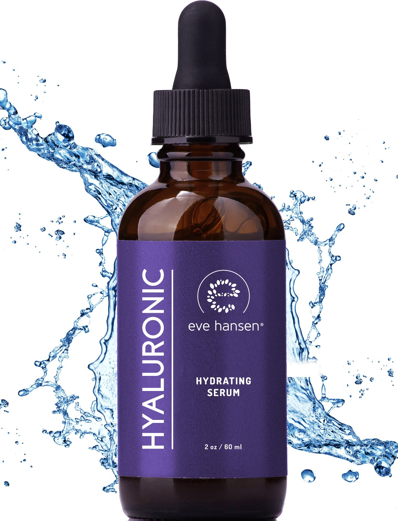 Pure Hyaluronic Acid Serum 2 Ounces by Eve Hansen-Hydrating Serum, Wrinkle Filler and Plumper. Experience Intense Moisture, Hydration and Anti Wrinkle Serum Benefits. Vegan, Natural and Cruelty Free.