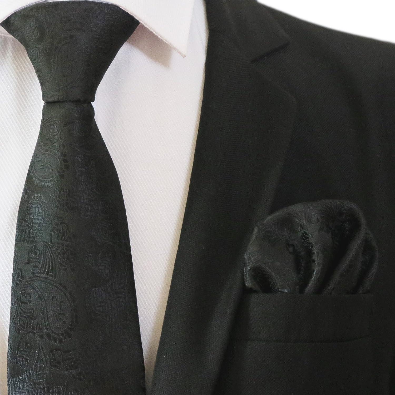 PickaPocket - Conjunto - para hombre Negro SUBTLE BLACK ON BLACK PAISLEY DINNER PATTERN FORMAL DESIGN PATTERN Talla única DEaFezyQn